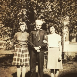 Madeline, Edward, & Esther Farrell 1941 at the Farrell home on East Main Street in Victor, New York.